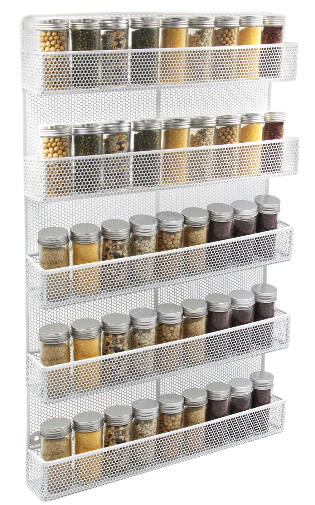 TQVAI 5 Tier Wall Mount Spice Rack Organizer Kitchen Spice Storage Shelf - Made of Sturdy Punching Net, White by TQVAI