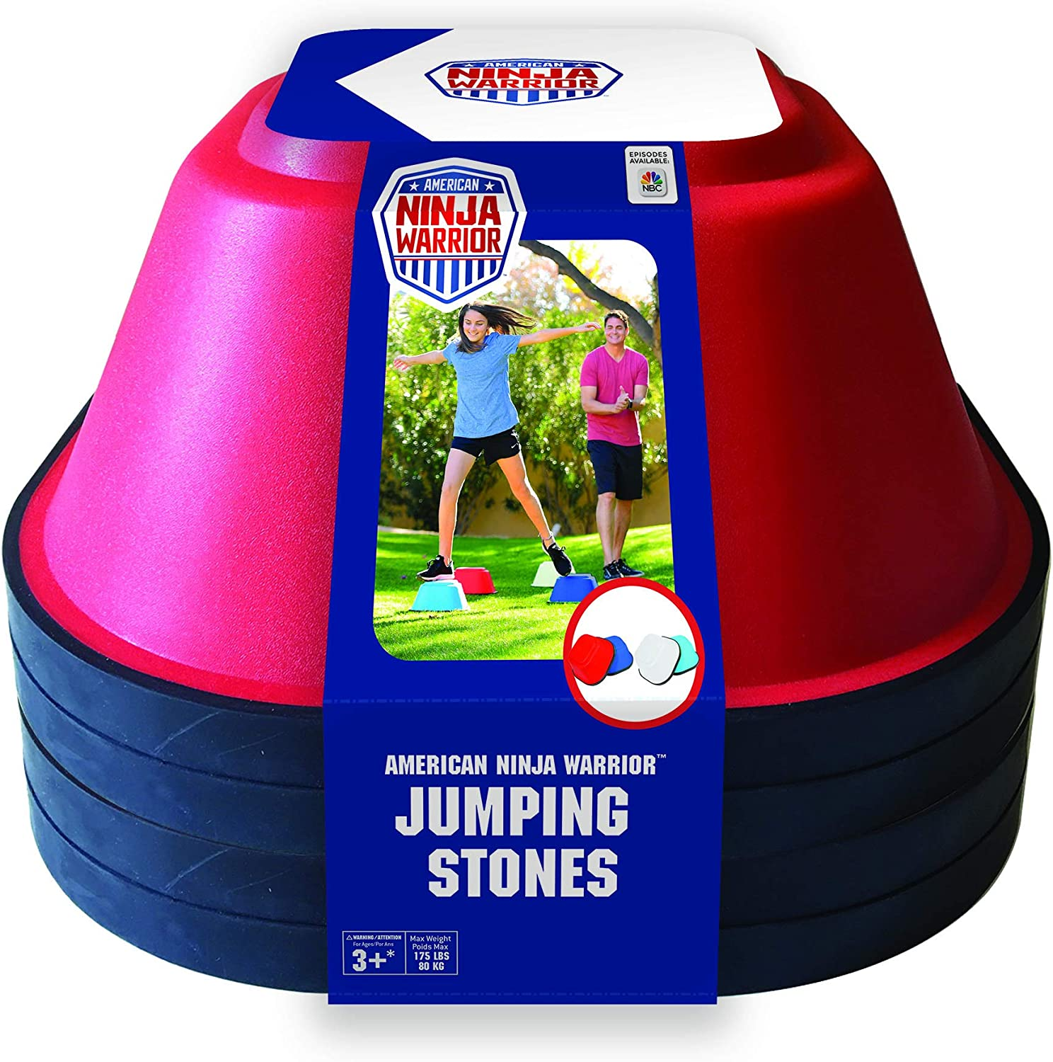 ANW American Ninja Warrior - Jumping Stones - 4 Pc. (Ninja Training, Backyard Obstacle Course, Jump Training)