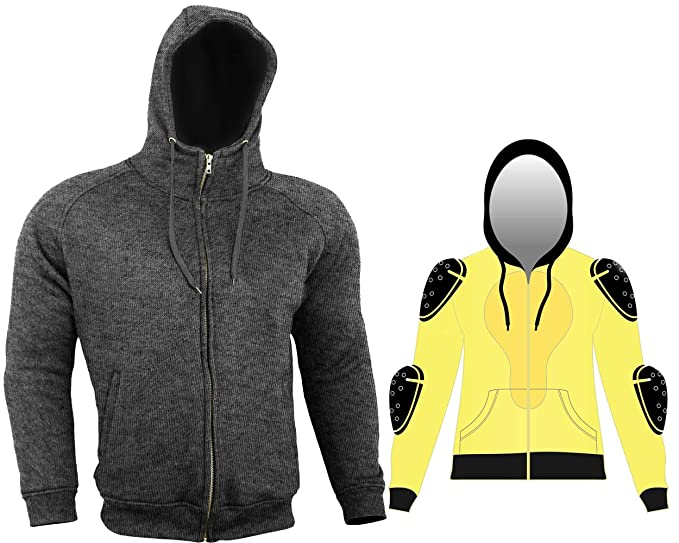 Black Thick Kevlar Motorbike Armoured Hoodie Motorcyle Summer Jacket Hoody With Removable Armour Bikers Fasion Gears Size = 5X Large