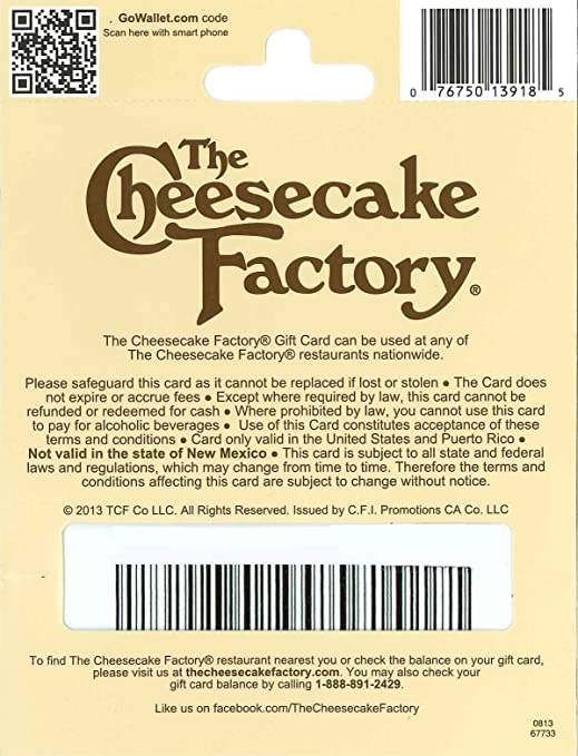 Amazon.com: The Cheesecake Factory Gift Card $25: Gift Cards