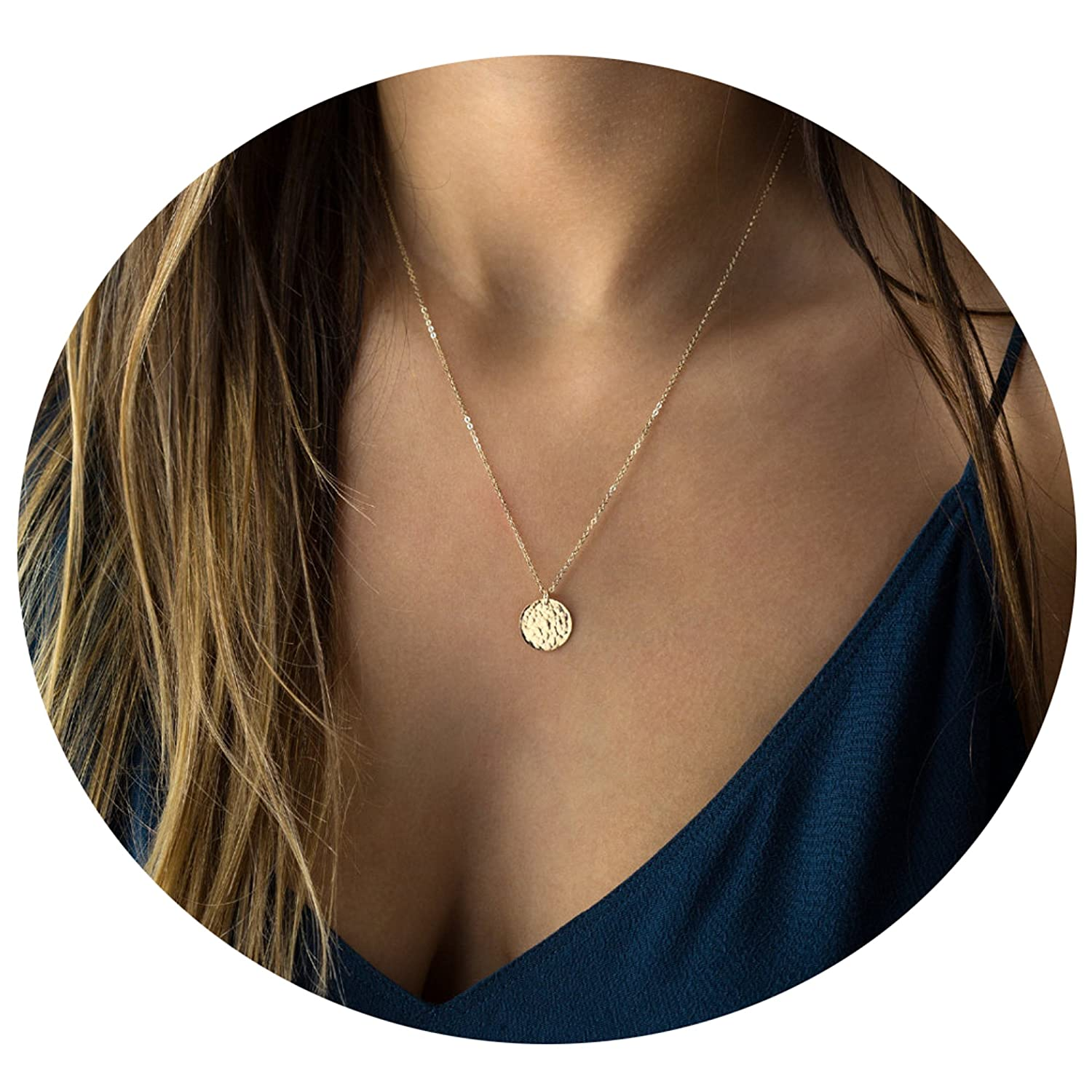 fe55cfc9fc Amazon.com  Befettly Full Moon Pendant Necklace 14k Gold Fill Dainty Moon  Phase Simple Moon Choker Crescent Moon Necklace-Full Moon  Jewelry