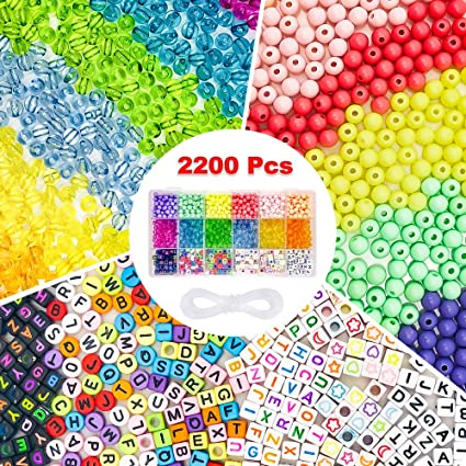 Crafts and Jewelry Making Letter Beads Kandi Necklace Cridoz 1200pcs Alphabet Beads Acrylic Letter Beads with Elastic String Stretch Cord for Friendship Bracelets Pony Beads