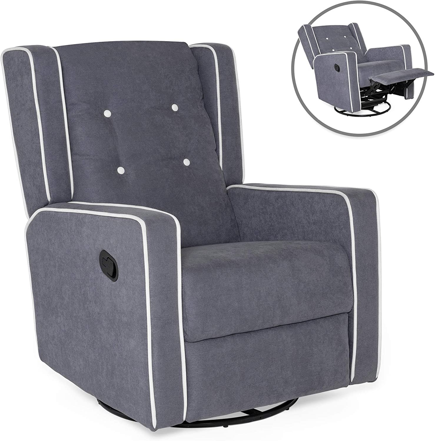 Shop Best Choice Products Mid-Century Tufted Polyester Upholstered Recliner Rocking Chair - 360-Degree from Amazon on Openhaus