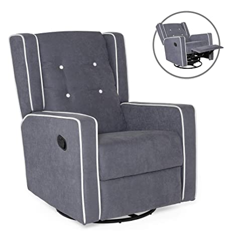 Strange Best Choice Products Mid Century Tufted Polyester Upholstered Recliner Rocking Chair W 360 Degree Swivel Gray Creativecarmelina Interior Chair Design Creativecarmelinacom