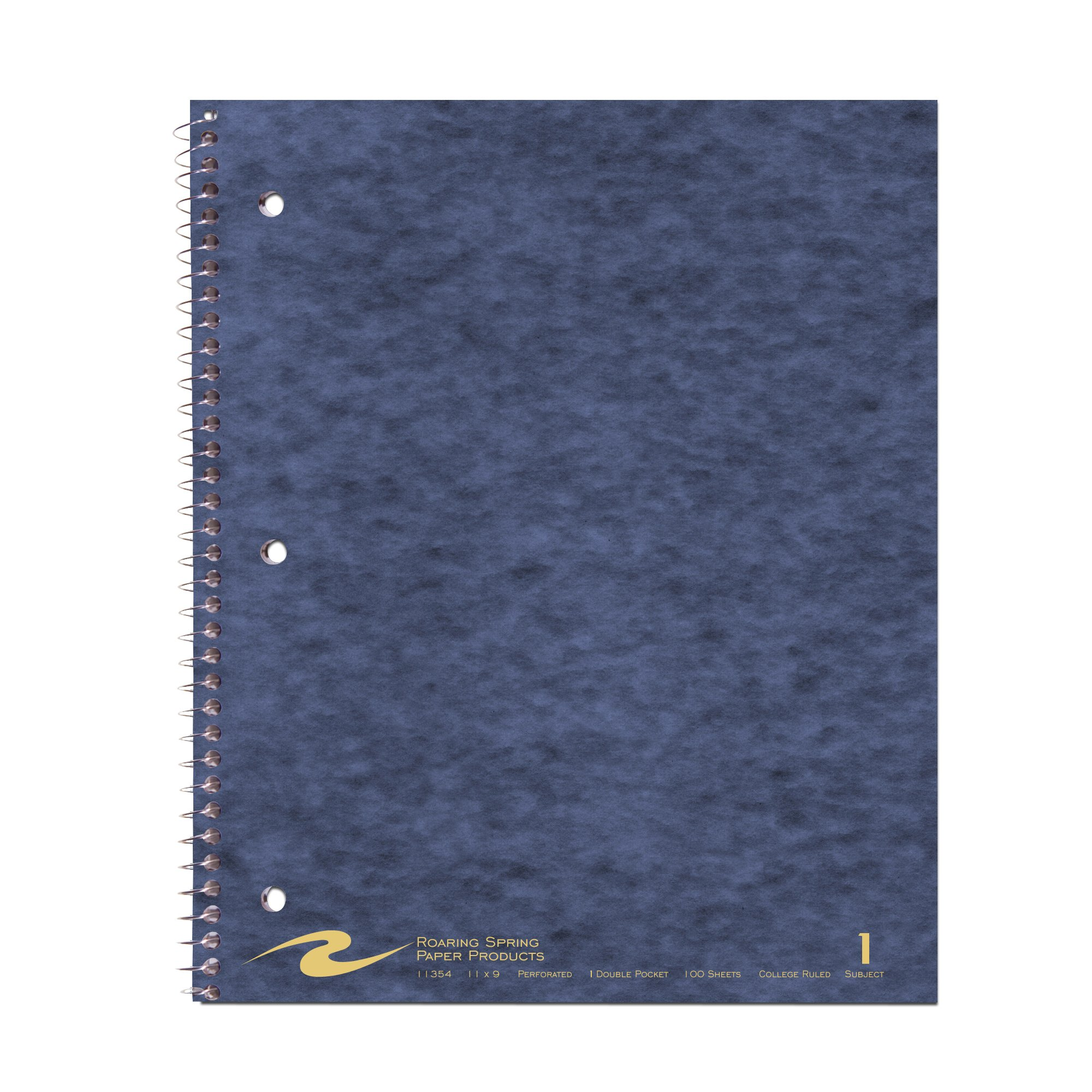 Roaring Spring Wirebook Notebook, One Subject with 1 Double Pocket, 11'' x 9'', 100 sheets, College Ruled, Assorted Color Covers