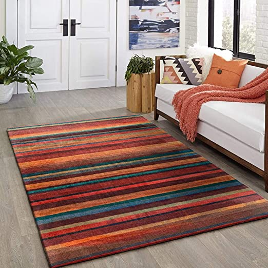 Amazon Com Decomall 8 X10 Striped Area Rug Modern Geometric Carpet Multi Color For Living Room Bedroom Kitchen Dining