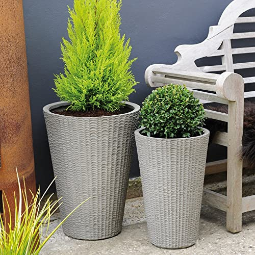 Thompson & Morgan Outdoor Garden Rounded Planter & Pots Textured Fibre Clay for Patio Plants & Trees Individual or Cluster Use Oxford Hanley 1 x Large Southwold Pot