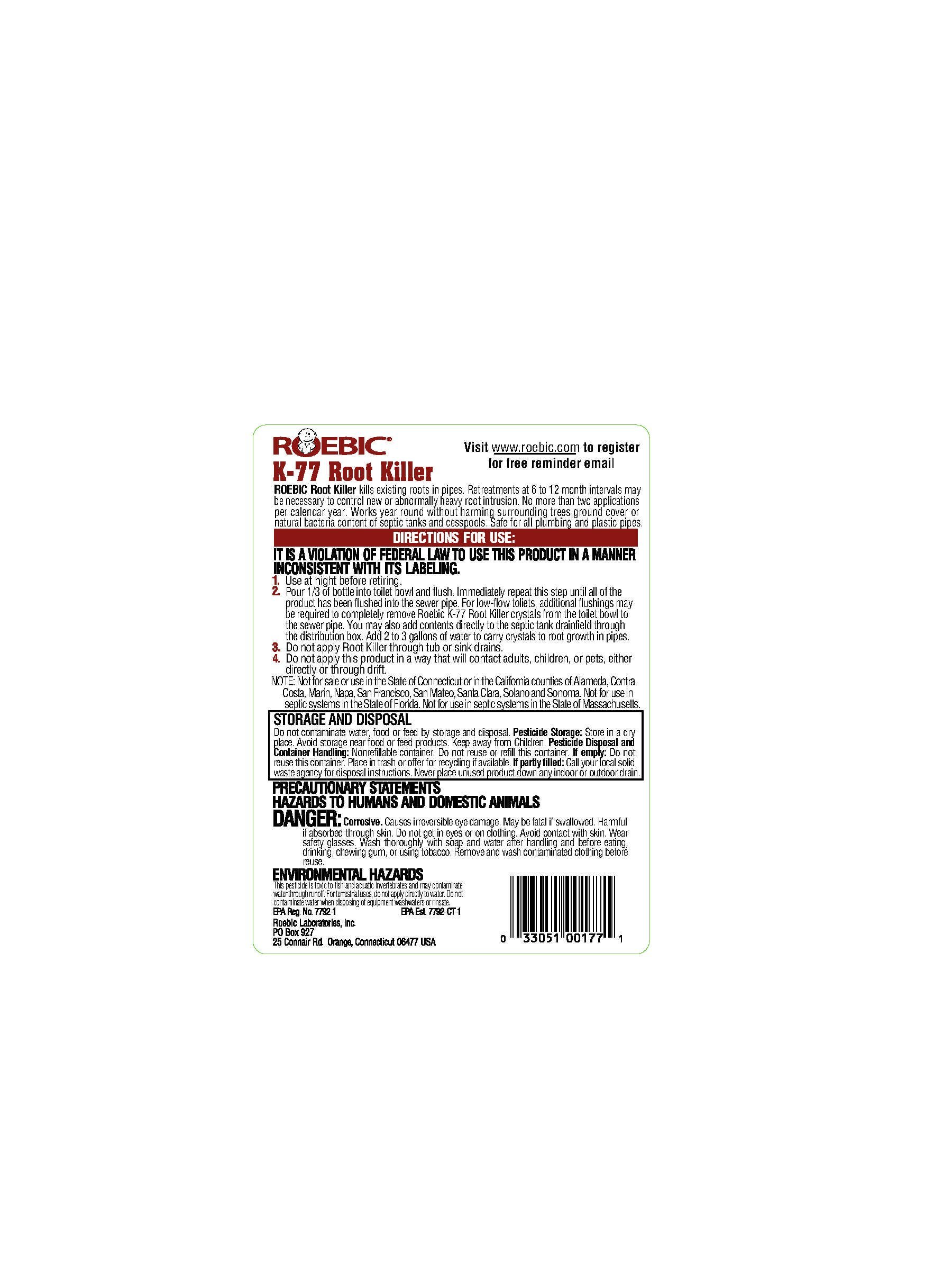 Roebic Laboratories K-77 Root Killer, 32OZ by Roebic Laboratories (Image #2)
