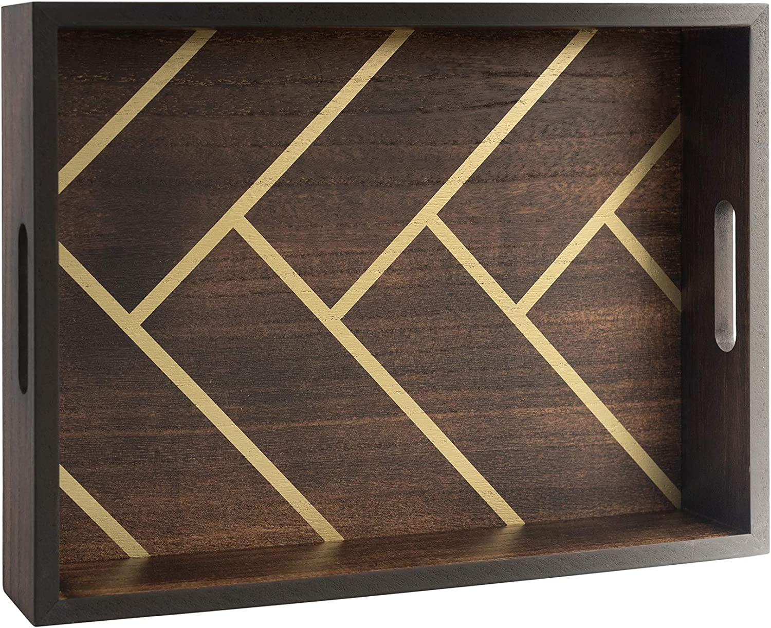 Wood Serving Tray with Handles for Coffee Table & Ottoman - Herringbone Design - 16.5 X 12 - for Breakfast, Home Accent Decor