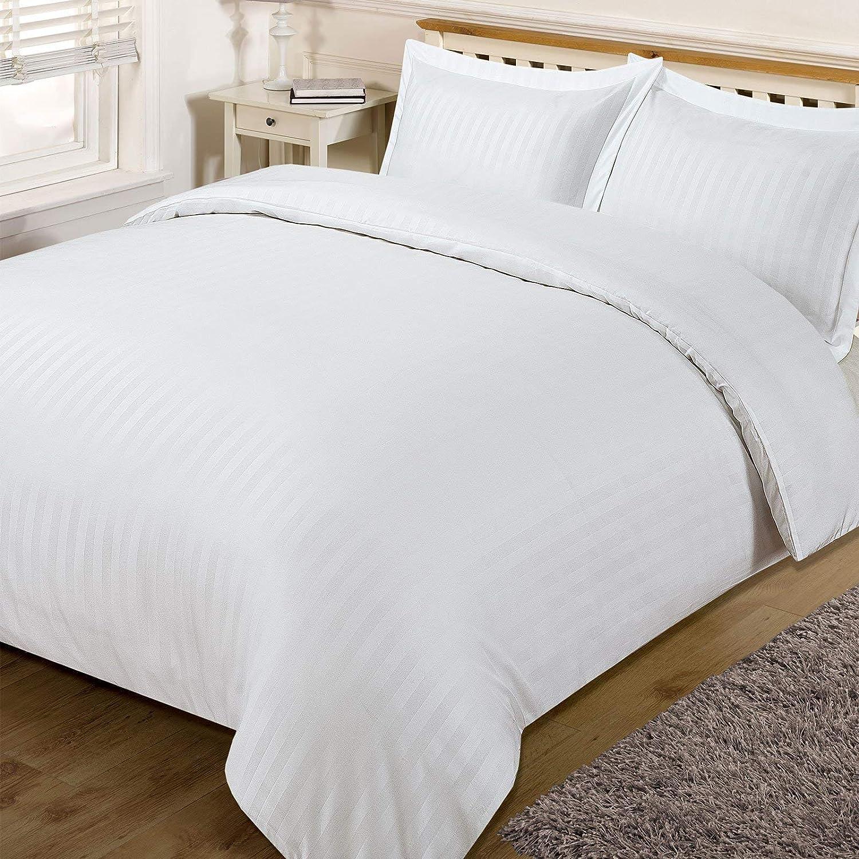 Doppio bianco /Set di biancheria da letto a righe Dreamscene/ in satin