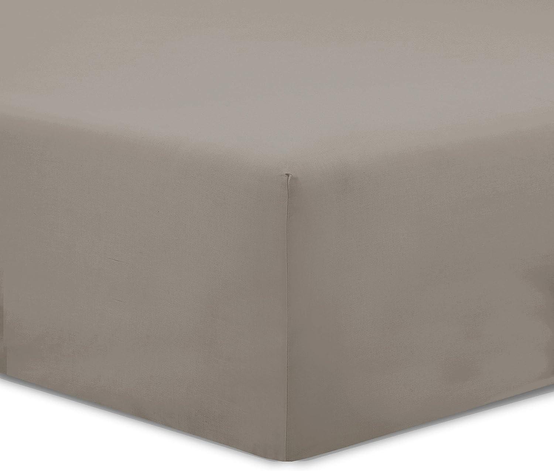 100/% Coton Vision Drap Housse Taupe 90x190cm