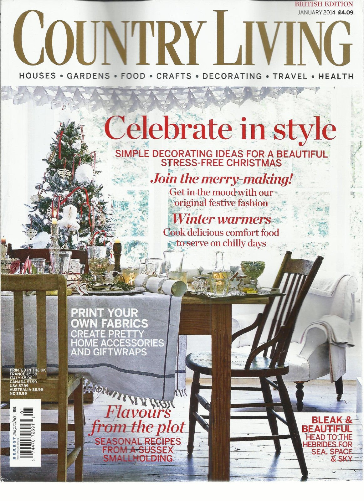 COUNTRY LIVING, JANUARY, 2014 (CELEBRATE IN STYLE * FLAVOURS FROM THE PLOT)