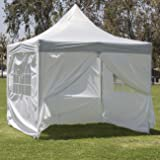 Belleze Premium Easy Pop Up Canopy Tent 10 x 10 ft 4 Removable Sidewall Truss System Frame -Silver/White