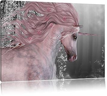 Einhorn im Wald 3-Teiler Leinwandbild Wanddeko Kunstdruck