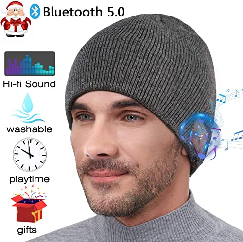 Upgraded Bluetooth Beanie,Gifts for Men Women,Wireless Headphones V5.0 Music Hat Knit Cap with Stereo Speaker Microphone,Unique Christmas Birthday Tech Gifts for Him Her Dad Mom Teen Boys Girls Friend