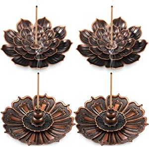 Brass Lotus Incense Burners Brass Incense Stick Holders Brass Ash Catchers Lotus Censer for Home Fragrance Decoration Aromatherapy Ornament, 2 Styles (4 Pieces)