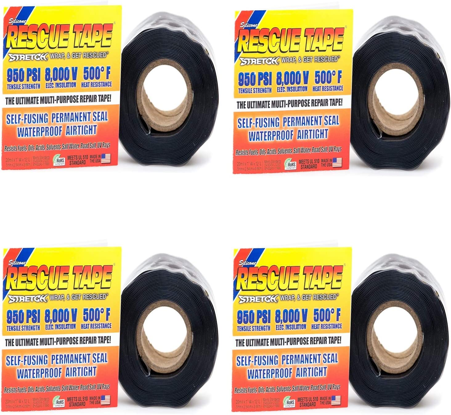 Rescue Tape Self-Fusing Pipe Repair Tape, 12 ft L, 1 in W, 13/64 in Thick, Black - 4 Pack
