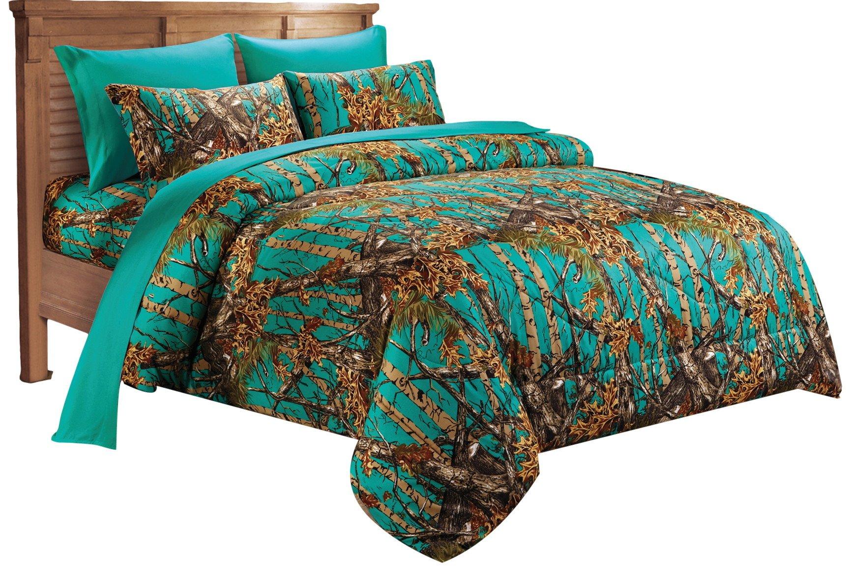 20 Lakes Super Soft Microfiber Camo Comforter Spread (Twin, Teal)