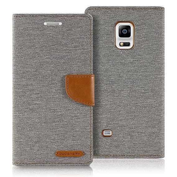 huge discount 1bc9a 90f78 Samsung Galaxy S5 Case MERCURY GOOSPERY Canvas Denim Diary Wallet Card Cash  Slot Stand Drop Protection Flip Cover (Gray)