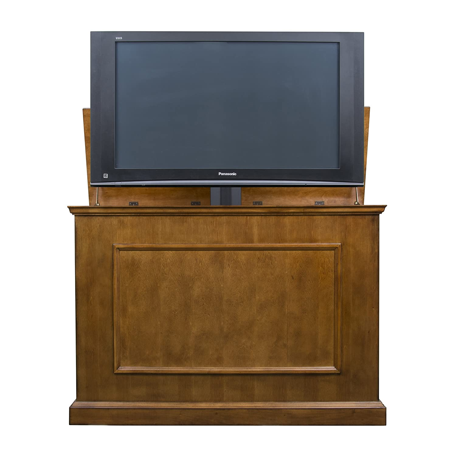 Touchstone 72009 – Elevate TV Lift Cabinet – TVs Up to 50 Inch Diagonal 45 Wide TV Honey Oak – 50 in Wide – Quiet Quick Whisper Lift II TV Lift Wired Wireless RF Remote