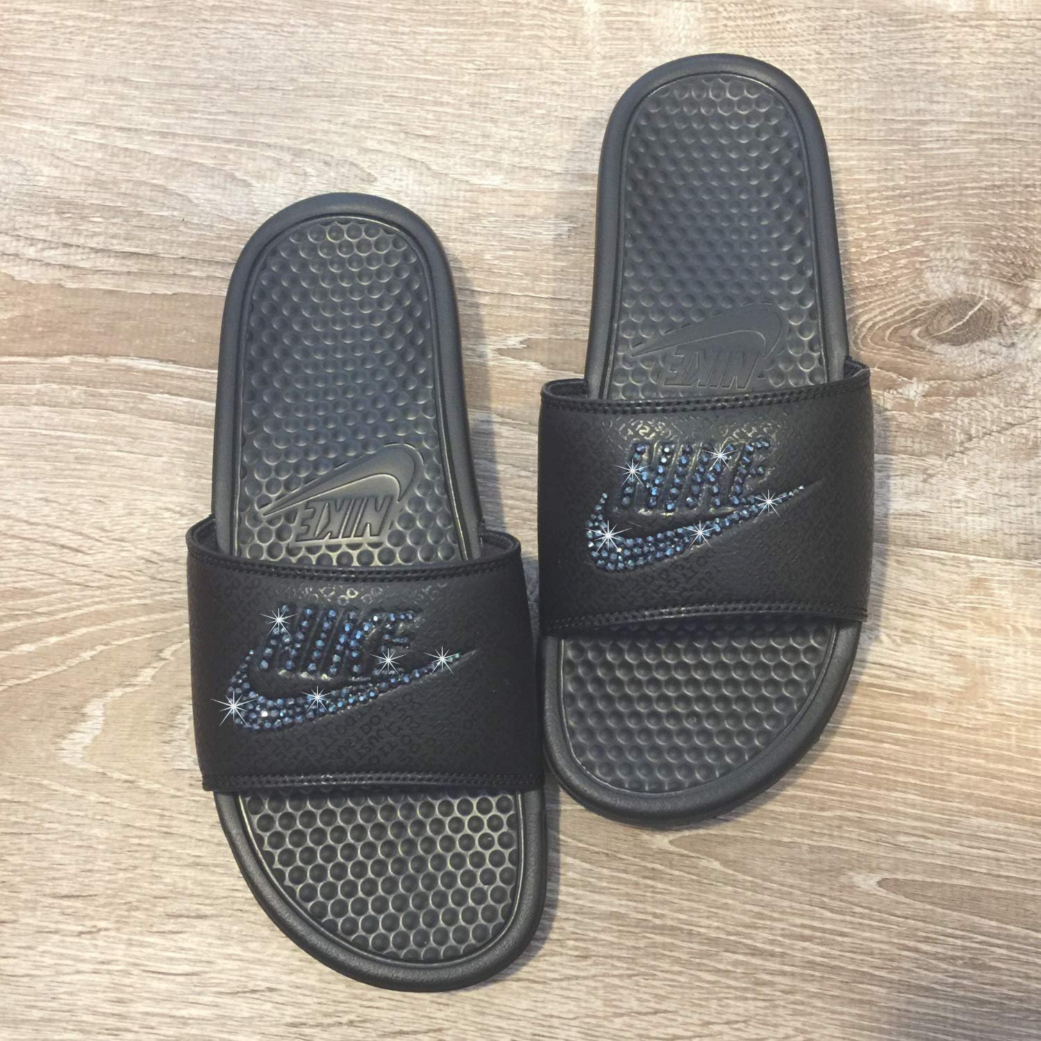 new arrival 2c7ee 179bb Amazon.com  Bling NIKE SLIDES with Swarovski Crystals ALL BLACK Women s  NIKE Benassi JDI Slides Custom Bedazzled Slip On Sandal Shoes  Handmade