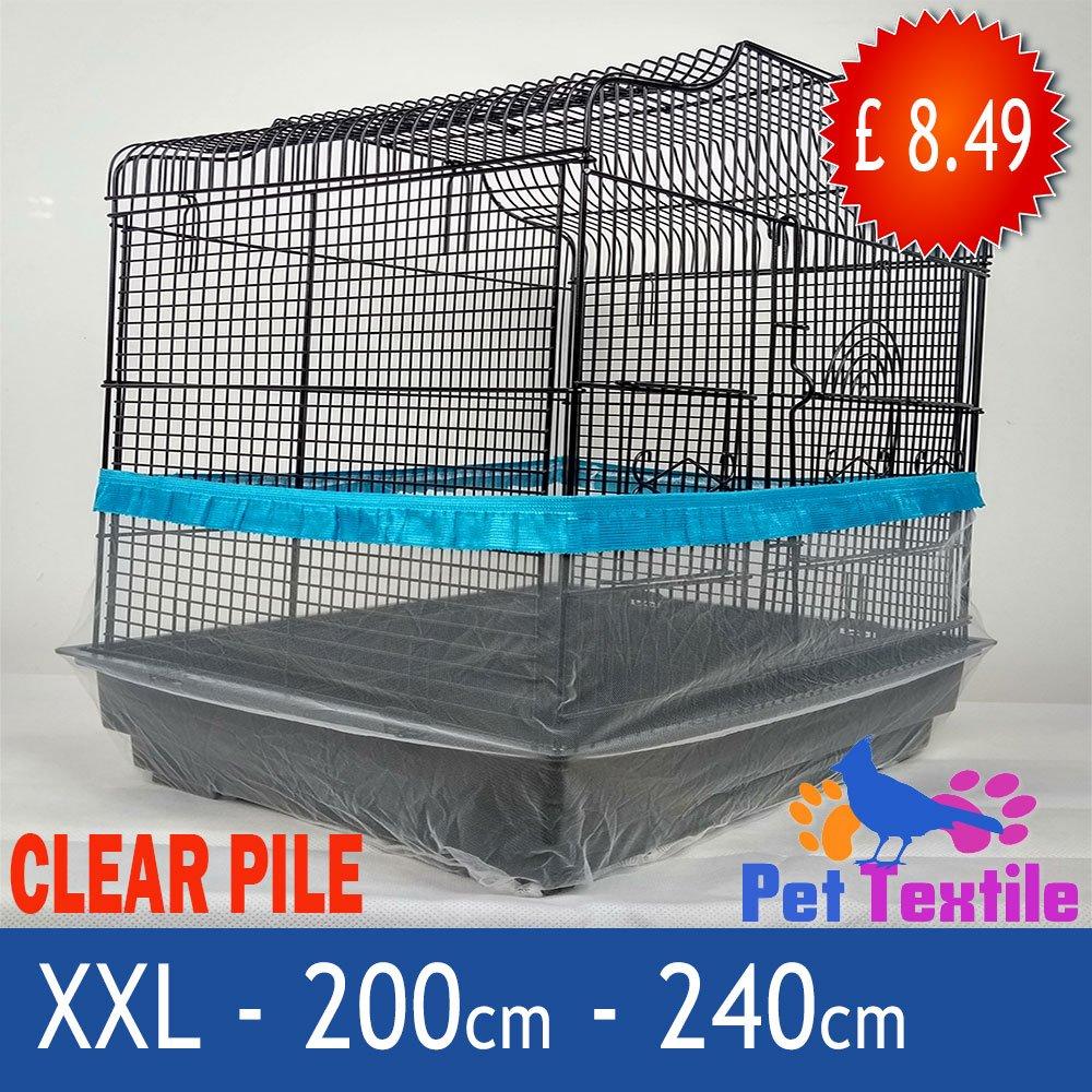 Cage à oiseaux bien Rangé de graines de poils Catcher Garde Jupe style clair–Bleu–XXL–240cm Pet Textile
