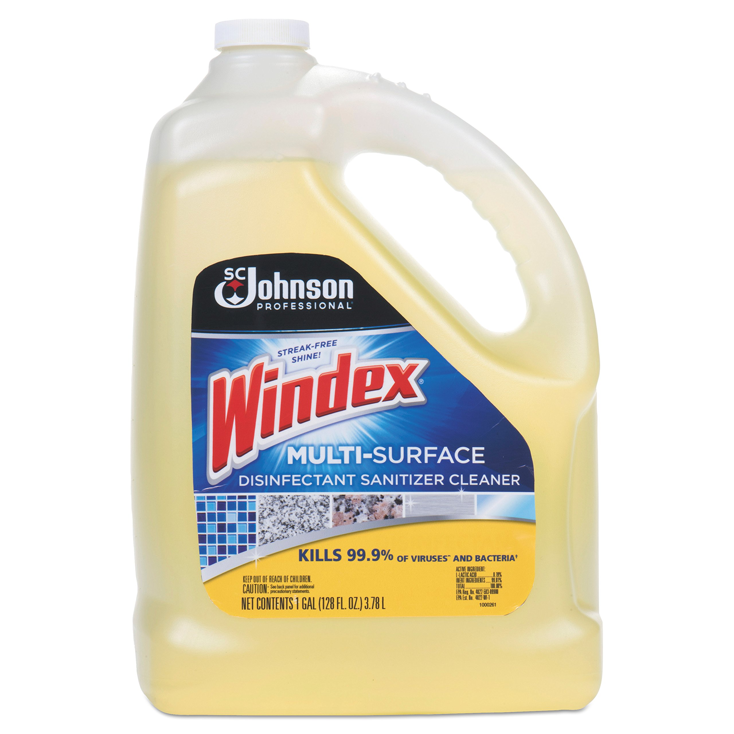 Windex 657067 T Multi-Surface Disinfectant Cleaner, Citrus, 1 gal Bottle (Case of 4) by Windex