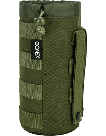 Gonex Upgraded Tactical Military MOLLE Water Bottle Pouch, Drawstring Open Top & Mesh Bottom Travel