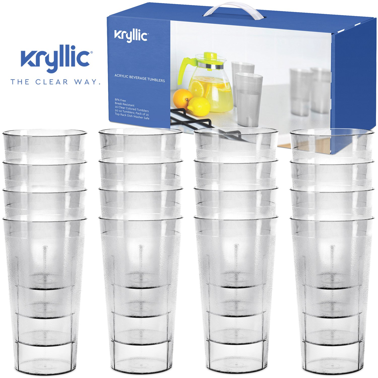 Plastic Tumblers Drinkware Glasses Cups - Acrylic Tumbler Set of 16 Break Resistant 20 oz. in 4 Assorted Colors Restaurant Quality Tumblers Dishwasher Safe and BPA Free by Kryllic 30362