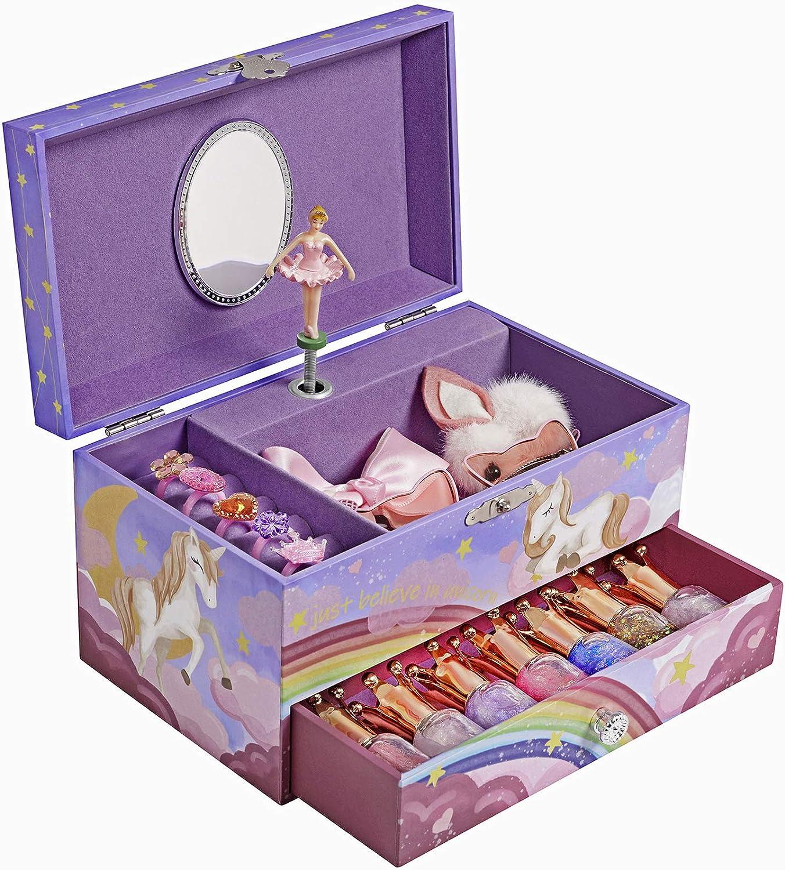 Ballerina Schmuckk/ästchen mit Musik Das Einhorn Melodie Musikbox mit Schublade SONGMICS Spieldose lila JMC012P02 Rollen f/ür Ringe und mehreren F/ächern Einhorn Motiv