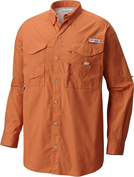 Columbia PFG Bonehead - Camiseta de manga larga para hombre, talla XS, color naranja