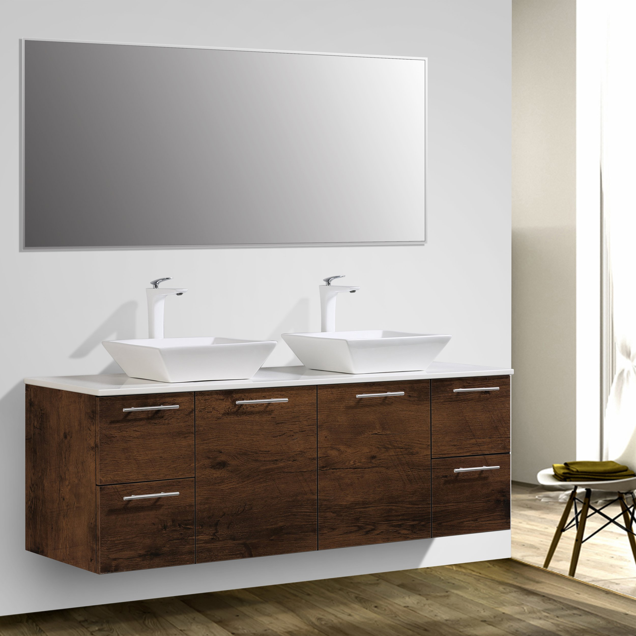 Eviva Luxury 60 inch Rosewood bathroom vanity with top