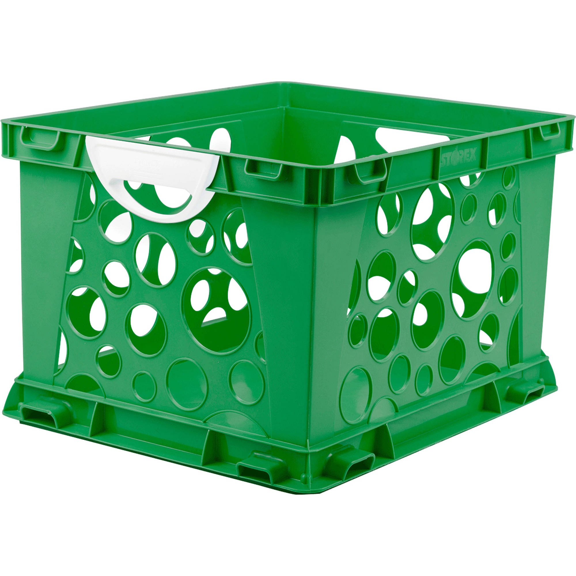 Indoor Large File Crate Storage with Handles, in Green ( 3 PACK )