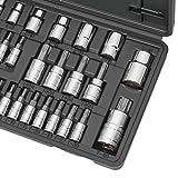 CARBYNE 36 Piece Torx Bit Socket & E-Socket Set, S2 Steel Bits | 1/4-inch, 3/8-inch & 1/2-inch Drive