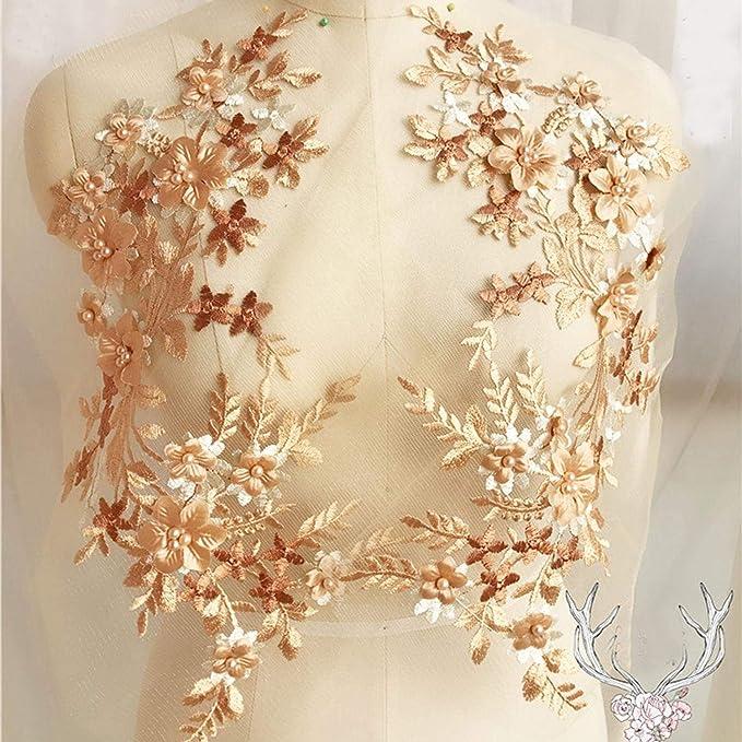 Aplique de encaje bordado con flores en 3D con cuentas de bruja ...