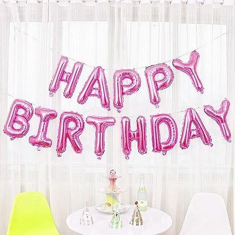 Jzk Lettres Rose Happy Birthday Ballons En Aluminium Joyeux