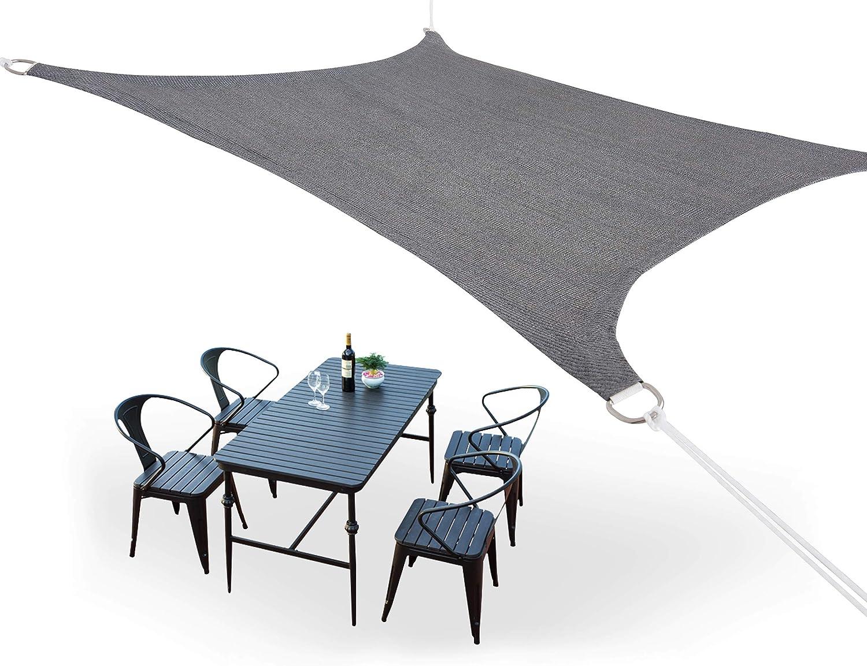 N A HDPE Toldo Vela de Sombra Cortavientos Transpirable,Toldo Tela, Resistente Rayos UV 95% Solar Protección para Terraza Balcon Jardine Camping Exterior Cuadrado/Rectangular (3×4, Gris)
