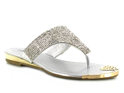 33035a981102 Elegant Silver Rhinestone Individual Diamante Thong Toe-Post Summer Sandals  Ideal for Summer Days Evenings