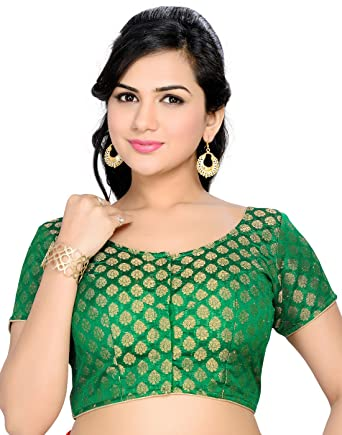 Studio Shringaar Party Green Solid Short Sleeve Non-Padded Blouse Blouses at amazon