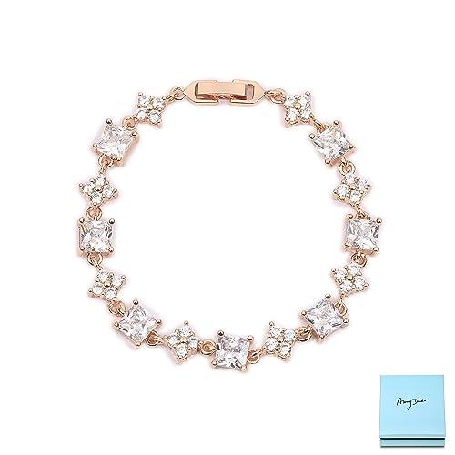Amazoncom Womens Tennis Bracelet Sterling Silver 18k Rose Gold