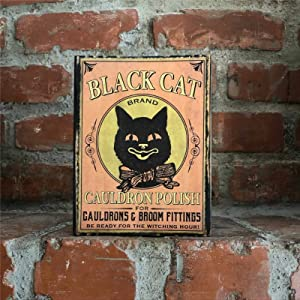 Vintage Black Cat Halloween Wood Block; Primitive Potion Label Halloween Sign; Farmhouse Country Halloween Wood Sign Decors; Black Cat Wooden Sign Wood Plaque Wall Art Wall hanger Home Decor ds043