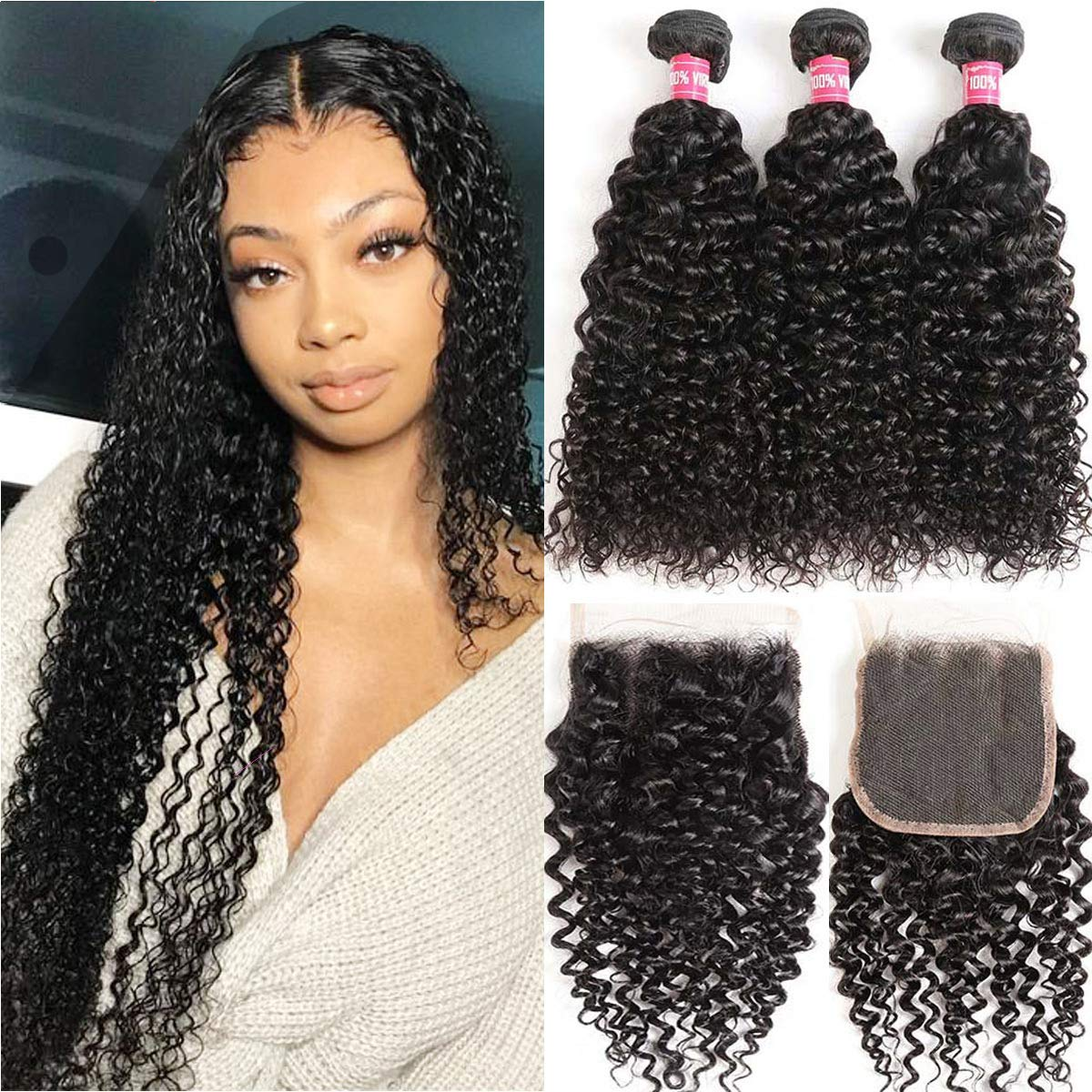 WENYU Hair Brazilian Virgin Curly Hair 3 Bundles with Lace Closure Free Part 100% Brazilian Kinky Curly Human Hair Bundles with 4x4 Lace Closure Natural Black (22 24 26+20Free Part)