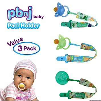 Amazon.com : PBnJ baby Pacifier Clip Holder Strap Leash Tether for Boys and Girls with Safe Plastic Clip (Dinosaur, Jungle, Puppy 3-Pack) : Baby