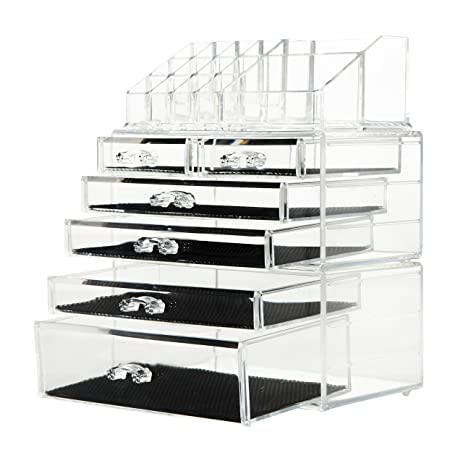 Captivating Finnhomy Makeup Organizer Acrylic Cosmetic Organizer Jewelry Storage  Organizer Counter Storage Case Large Display Drawer 3