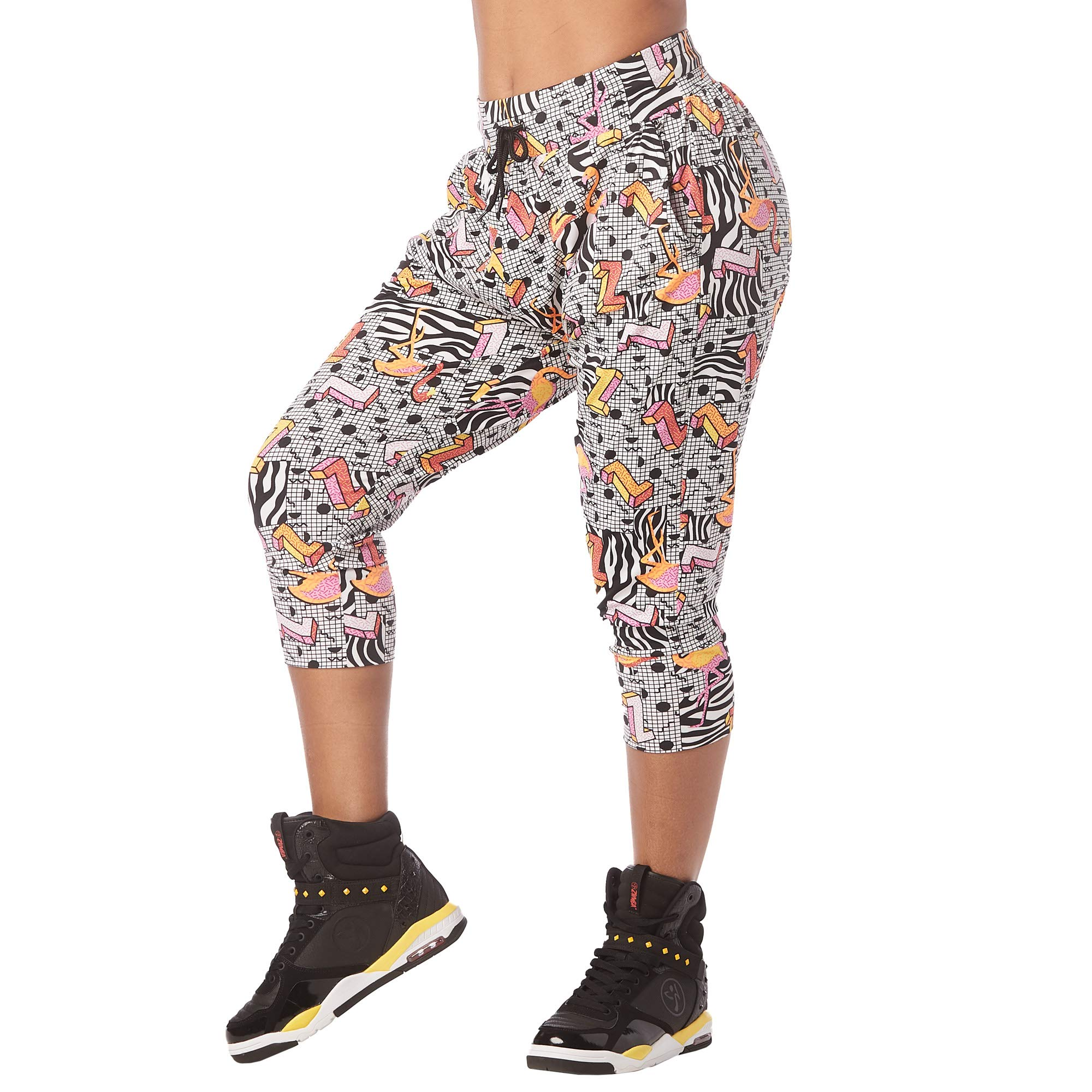 Zumba Women's Soft Breathable Activewear Harem Capri Workout Pants, Wear it Out White, X-Small