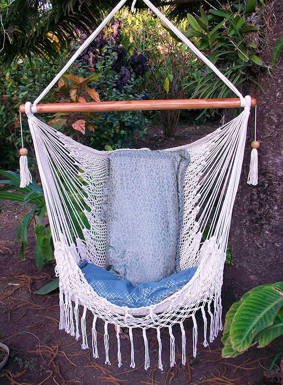 Hammock Chair with Macrame Edge Handmade Cotton Beige Indoor Outdoor Chair Hammock Hanging Chair Swing