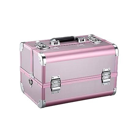 LANGRIA Maletín de Maquillaje Estuche Profesional en Aluminio con 4 Bandejas Escalonadas 10 Compartimentos Neceser para Cosméticos y Accesorios con ...