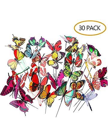 LABOTA 30 Piezas Colorido Jardín Mariposas y Libélulas Lariposas en Palos Adornos Dejardín para Patio Patio