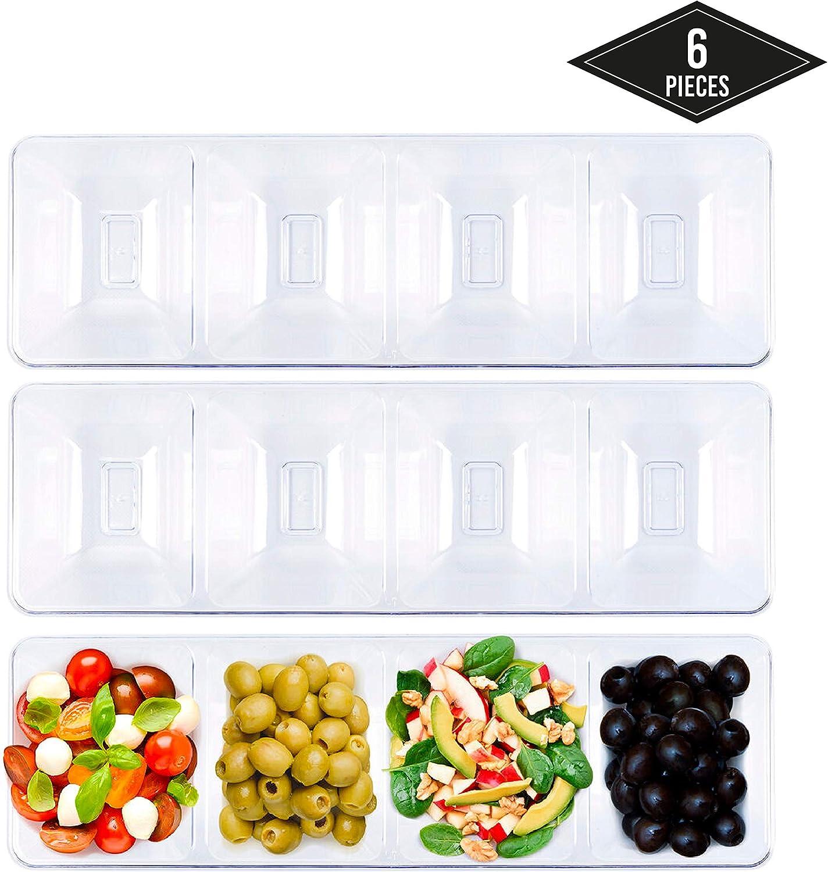 6 Bandejas Compartimento de Plástico Duro con 4 Secciones, Rectangulares y Transparente, 40.5x12.5cm - Desechable y Reutilizable - Robusto y Apto para Lavavajillas - Aperitivos Bocadillos de Fiestas