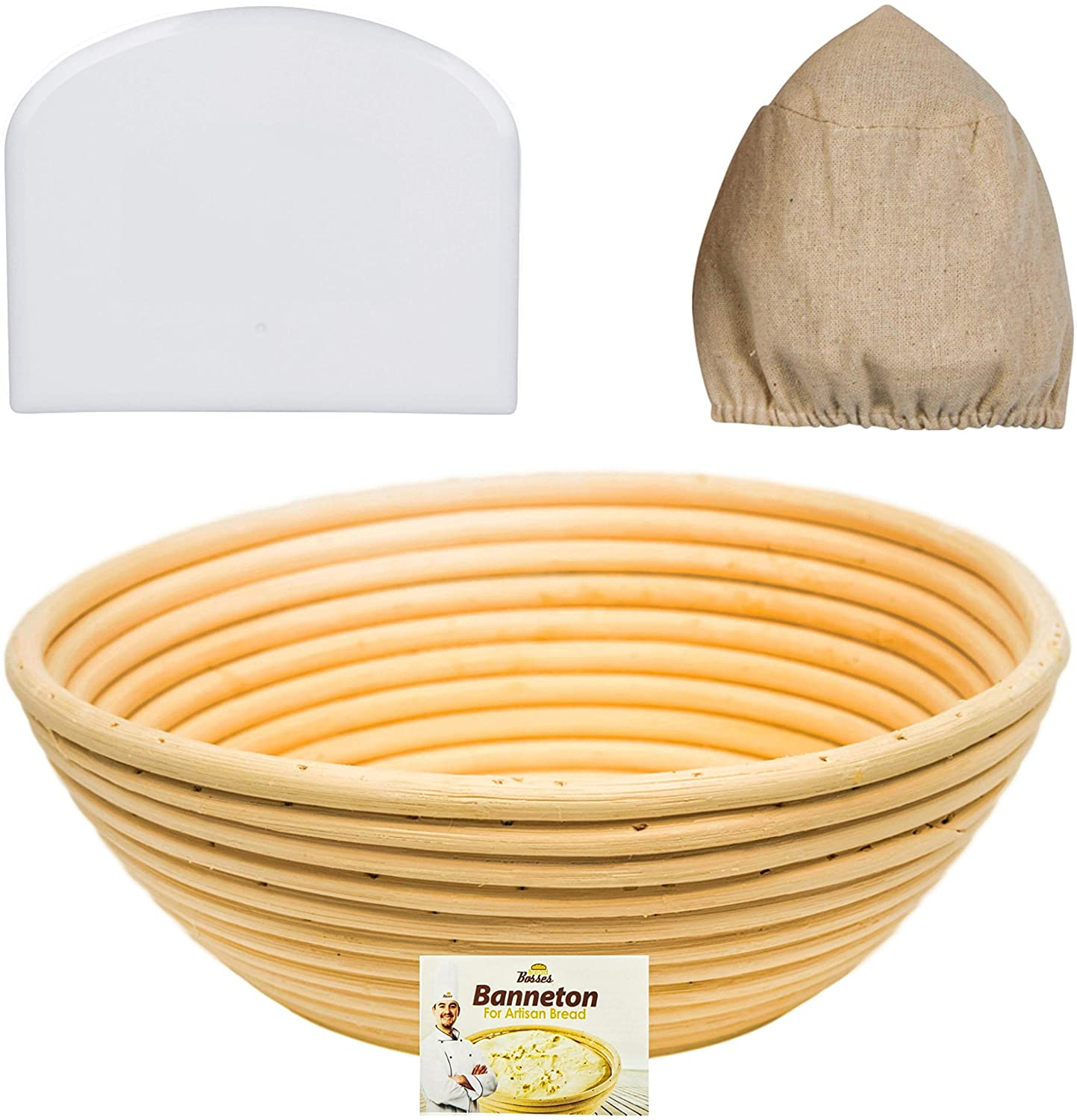 9 Inch Banneton Proofing Basket Set - for Professional and Home Bakers (Sourdough Recipe) Bowl Scraper and Brotform Cloth Liner for Rising Round Crispy Crust Baked Bread Making Dough Loaf Boules Bread Bosses